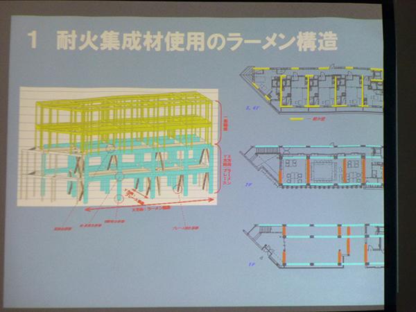耐火集成材使用のラーメン構造